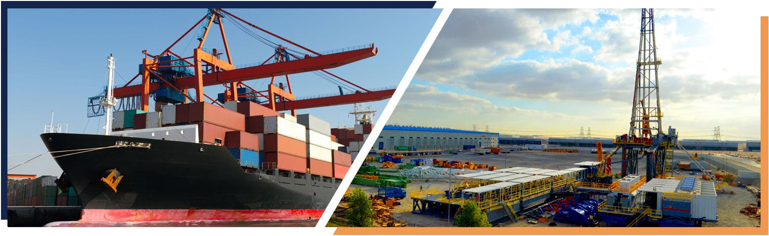 A banner image featuring shipping and logistics