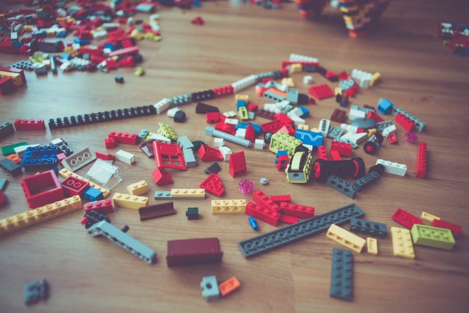 Pieces of Lego on the floor