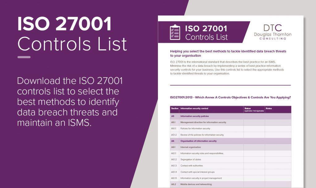 ISO27001 controls list